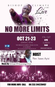 No More Limits Oct 21st - 23rd Ghana 2016